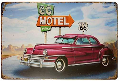 Motel 66 Route 66 Vancy Cartel de hierro Placa de puerta de pared de hojalata Cartel de chapa de acero Cartel de pared Decoraciones artísticas para Cafe Bar Park Hotel,30x40cm