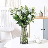 6PCS Roses fleurs artificielles vintage longue tige style rétro fleur de soie bouquet fleurs et bourgeons décoration de mariage Partie à la maison Décor du foyer dans le champagne rose vert blanc sans