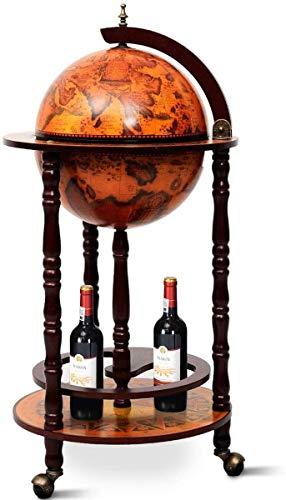 "HOMGX 17"" Wooden Globe Wine Rack"