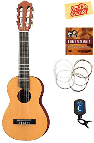 Yamaha GL1 Guitalele Guitar Ukulele - Natural Bundle with Gig Bag, Tuner, Strings, Austin Bazaar Instructional DVD, and Polishing Cloth