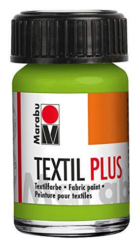 Marabu 17150039061 Textil Plus - Colore Completamente Coprente per Tessuti Scuri, Adatto per Pittura e Stampa su Tessuto, Dopo Il Fissaggio, Lavabile Fino a 40°C, 15 ml, reseda