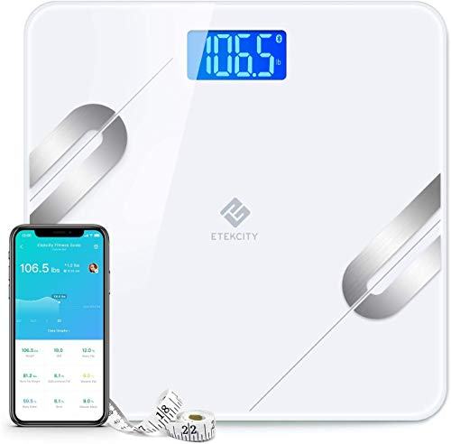 Etekcity Scale Digital Weight and Body Fat Smart Bathroom Fitbit Scale Bluetooth for Weight Loss 400lbs White