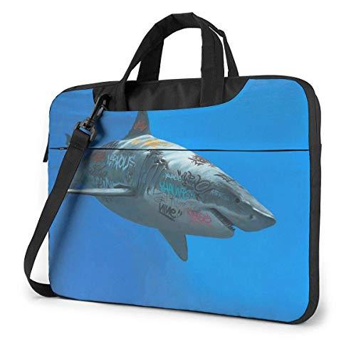 Laptop Case Computer Bag Sleeve Cover Shark Frenzy Print Waterproof Shoulder Briefcase