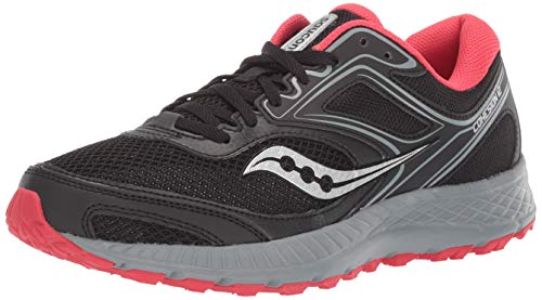 Saucony Women's VERSAFOAM Cohesion TR12 Trail Running Shoe, Black/Grey/Hibiscus, 7 M US