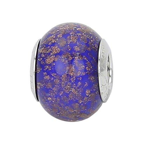 GlassOfVenice - Abalorio de cristal de Murano, plata de ley, diseño de Avventurina, color azul