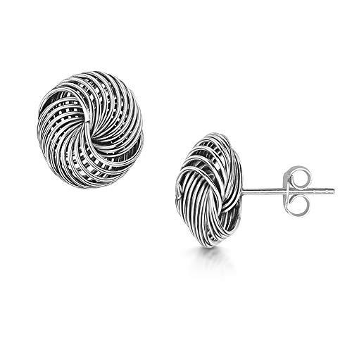 Amberta Pendientes Grandes en Plata de Ley 925 - Pareja de Aretes Celta para Mujer - 1 Par de Pendientes de Nudo Elegantes