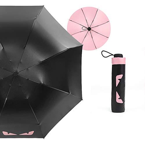xinrongqu Paraguas Plegable Paraguas Plegable Negro Paraguas de plástico Paraguas automático de Doble Uso Protección Solar Paraguas UV Apolo Rosa 23 Pulgadas
