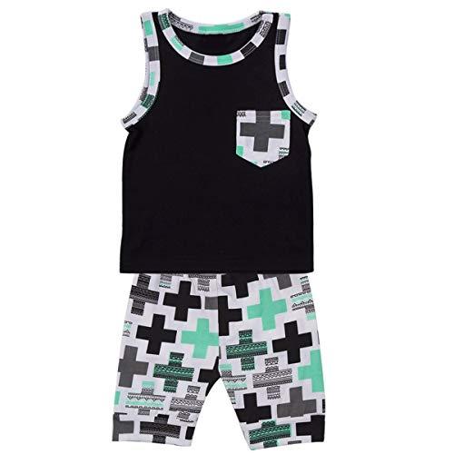 Puseky 2pcs Enfant bébé garçons Tenues sans Manches Chemise + Cross vêtements de vêtements (Color : Black+Green, Size : 9M-12M)