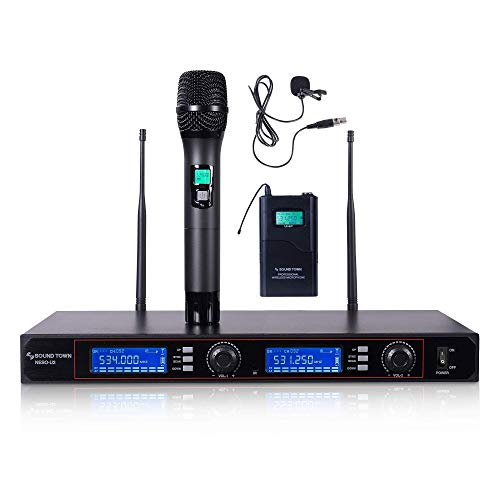 Sound Town 200-Channel Rack Mountable Professional UHF Wireless Microphone System with Metal Receiver, 1 x Handheld Mic/Lavalier Mic/Bodypack Transmitter (NESO-U2HL)