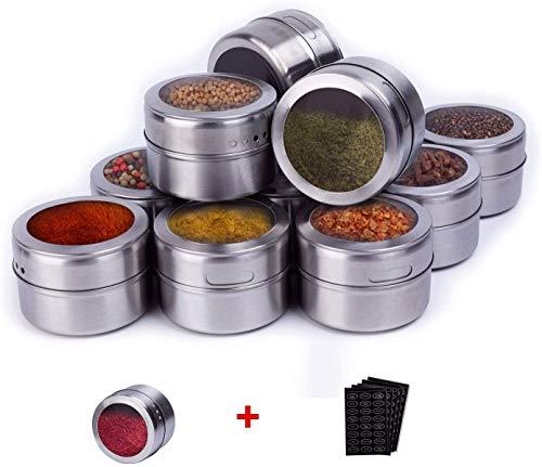 Sunsbell Paquete de 12 Frascos de Especias Recipientes de Almacenamiento Portátiles Y de Acero Inoxidable para Especias con Tapa Y Orificios Pequeños Soporte para Condimentos de Cocina