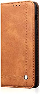 Business Ultra-Thin Flip Folio Wallet, PU Leather Magnetic Protection Rugged Leather Case, Protective Cover for Motorola Moto G7 / Moto G7 Plus L&Y (Color : Khaki)