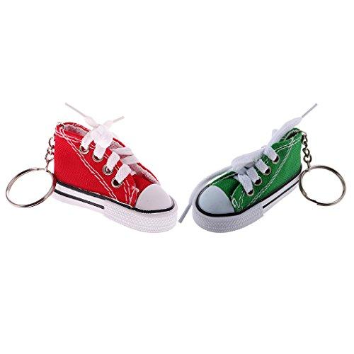 Baoblaze 2pcs Porte-clés Pendentif Modèle Mini Toile Chaussures Ornement pour Enfant Etudiant - Rouge Vert