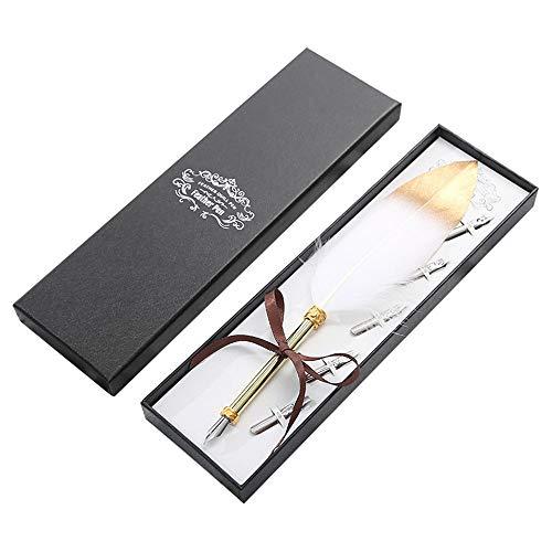 Gwolf Pluma europea retro Pluma retro, pluma de metal, pluma estilográfica de metal, caligrafía de pluma con caja de regalo, pluma estilográfica retro para regalos o uso personal, pluma blanca