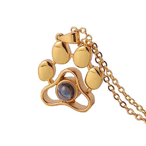 jieGorge Collares y Colgantes, Nuevo Collar de proyección Estampado de Pata de Perro Animal de Moda, joyería para Regalos de Mujer (Oro)