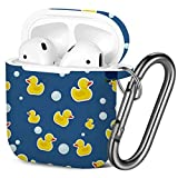 [ Compatible with AirPods 2 and 1 ] Shockproof Soft TPU Gel Case Cover with Keychain Carabiner for Apple AirPods (Rubber Duck Bubbles)
