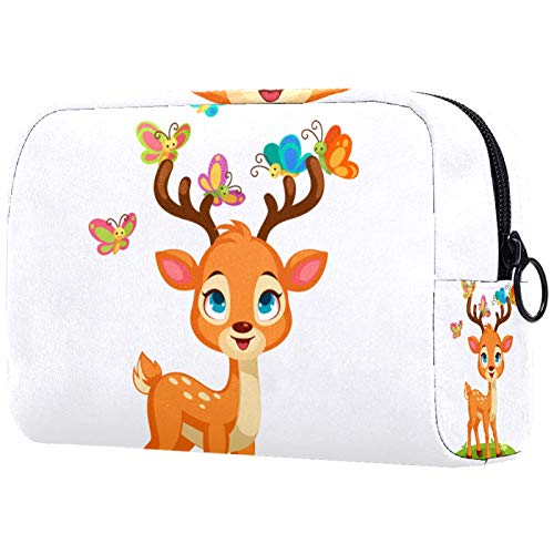 Kosmetiktasche für Make-up-Pinsel, tragbar, für Damen, Handtasche/Kosmetiktasche, Reise-Organizer, niedliches Reh, Schmetterlinge