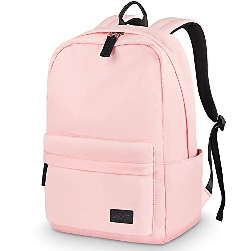 HASAGEI Mochila, Mochila Escolar Unisex Juvenil Mochila Backpack Mujer Portátil Bolso Lona Mochila Impermeable Casual Mochila Mochila Portátil Mochila Deportiva Color Sólido (Rosa)