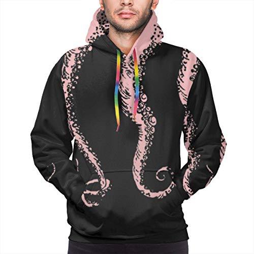 Men's Hoodie Pink Sea Octopus Tentacles Prints Sweate Sweatshirt Men's Casual Hoodie Casual Top Hooded,L