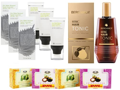 Set A08 Very Water Resistant Facial Sunscreen SPF50+ BERGAMOT ORIGINAL EXTRA HAIR TONIC 100 DHL EXPRESS By Thaigiftshop [Get Free Tomato Facial Mask]