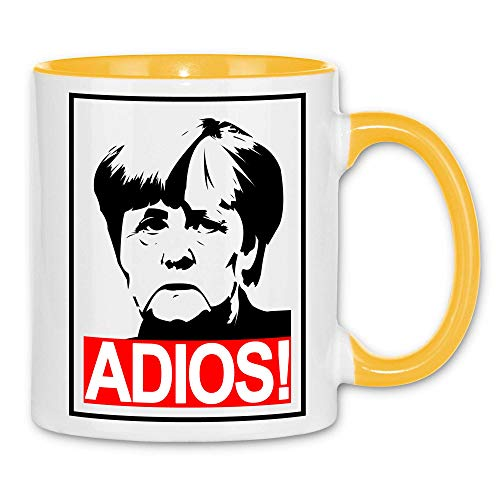 wowshirt Tasse Merkel Adios Anti-Merkel Politik AfD, Farbe:White - Yellow