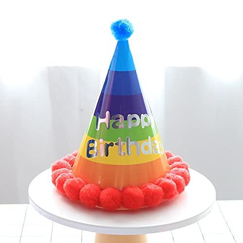 KOUQI Atrezzo Creativo Personalidad Dibujos Animados Gafas Juguete Sombrero de cumpleaños Rojo arcoíris