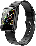QHG Nuevo Reloj Inteligente Bluetooth Monitoreo de Ritmo cardíaco Podómetro Tracker Sleep Monitoring Información Call Recordatorio Deportista Fitness Tracker (Color : Black)
