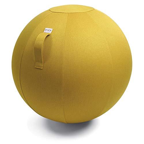 VLUV LEIV Stoff-Sitzball, ergonomisches Sitzmöbel für Büro und Zuhause, Farbe: Mustard (senfgelb), Ø 70cm - 75cm, Möbelbezugsstoff, robust und formstabil, mit Tragegriff