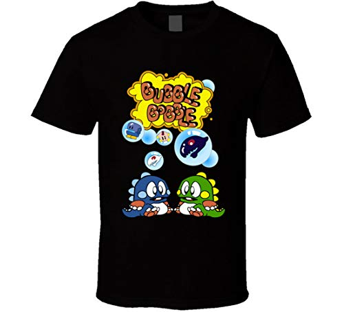 Bubble Bobble T-Shirt NES 80er Jahre Video Game Fan Schwarz Gr. XL, Schwarz
