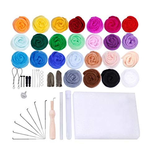 Weilifang 25 Colori feltro Strumenti filato Roving Set Needle Felting Starter Kit Foam Mat Arts Crafts FAI da te feltro