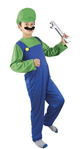 P'tit Clown - 60361 - Costume ado Plombier Vert/Bleu - 140/160 cm - Taille Unique