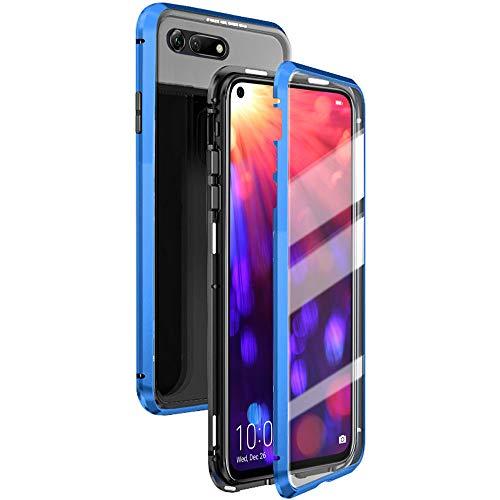 Eabhulie Huawei Honor View 20 Hülle, Vollbildabdeckung Gehärtetem Glas mit Magnetischer Adsorptionskasten Metall Rahmen 360 Grad Komplett Schutzhülle für Huawei Honor View 20 Blau - 2