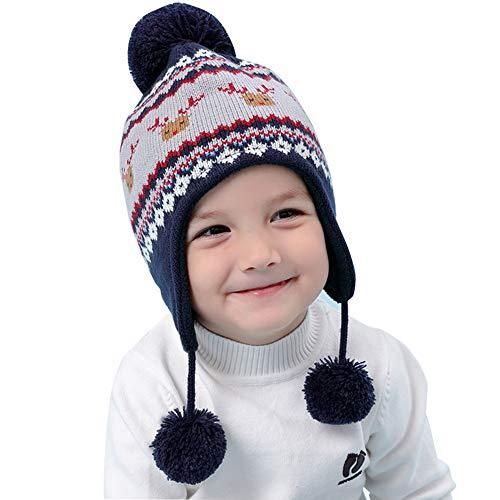 Happy Cherry - Niño Sombrero de Punto Forro Suave Bebé Beanie Gorro con Orejeras Patrón de Ciervo Lindo Infantil Otoño Invierno Knit Hat Caliente Niña 6-12 Meses - Azul Oscuro