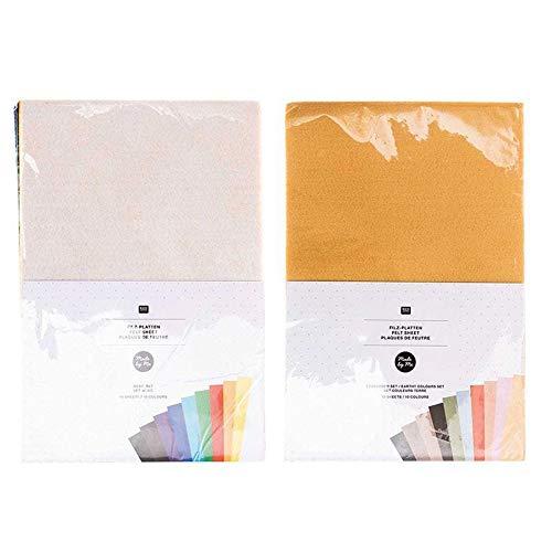 Rico Design 20 Hojas de Fieltro 20 x 30 cm - Colores básicos y Tierra