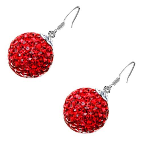 GWG Jewellery Pendientes Mujer Regalo Pendientes Colgantes, Chapados en Plata de Ley Bola Embellecida con Cristales Brillantes de Colores Varios para Mujeres