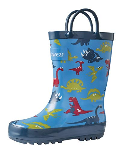 OAKI Kids Rubber Rain Boots with Easy-On Handles, Blue Dino, 9T US Toddler