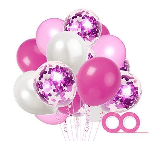 MAKFORT 40 Stück Rosa und Weiß Luftballons mit Konfetti Ballons Rosa und 2XLuftschlangen Helium Ballons für Hochzeit Geburstagsdeko Babyparty Mädchen Dekoration