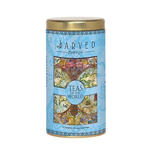 Jarved Teas of The World Gift Box-15 Teas from 10+ Countries   15 Loose Leaf Teas Premium Tin Box