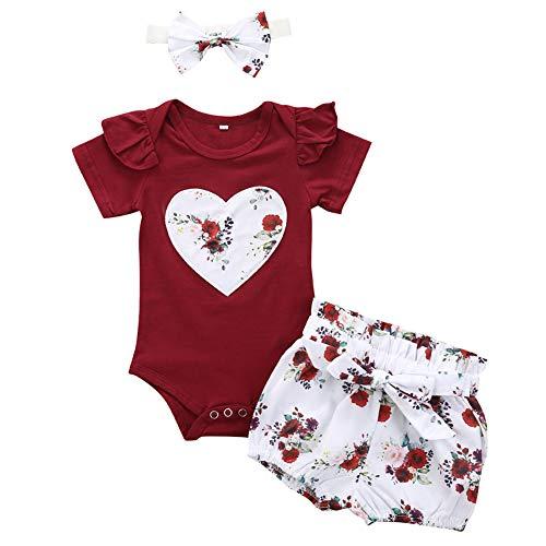 Geagodelia Babykleidung Set Baby Mädchen Kleidung Outfit Body Strampler + Shorts Neugeborene Kleinkinder Weiche Strand Babyset Sommer T-28221 (0-6 Monate, Weinrot 561)
