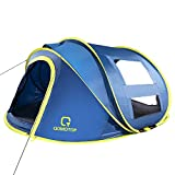 OT QOMOTOP 10 Seconds Set-up 4 Person Pop up Tent, Instant Automatic Tent with 4 Ventilated Mesh Windows and 2 Doors, Easy Carry and Storage Portable Waterproof Windproof Tent for All Seasons