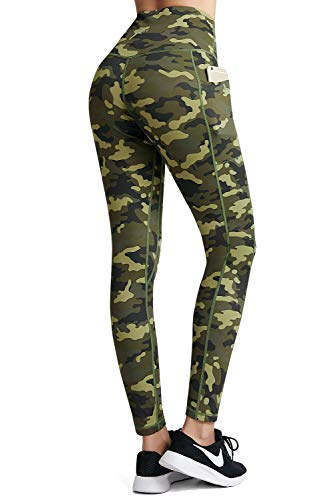 FETY Women's Workout Leggings with Pockets High Waisted Pattern Yoga Pants for Women Tummy Control Yoga Leggings