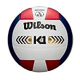 Wilson, Ballon de Volleyball, K1 Gold, Rouge/Blanc/Bleu, Cuir, Intérieur, Taille officielle, WTH1895A1XB