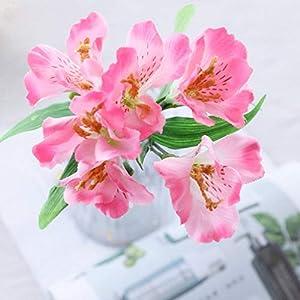 Citinny Lily Artificial Flowers Wedding Home Garden Silk Narcissus Flowers Fake Flower Deep Pink