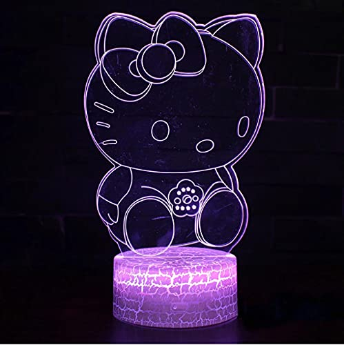 Precioso Gato Tema 3D Lámpara Led Luz Nocturna 7 Cambio De Color Touch Lámpara De Humor Regalo De Navidad