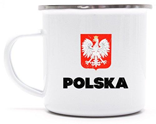 Wappen Polska Poland Warschau Länder bedruckte Metalltasse Emaille Camping Tasse mit Spruch Motiv Flagge Polen, Größe: onesize,weiß/silber