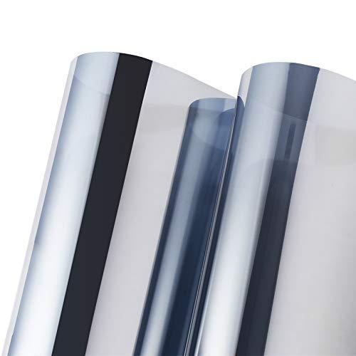 PROHOUS Spiegelfolie Sonnenschutzfolie Selbstklebend Anti-UV Verdunkelungsfolie 99% Sichtschutz Fensterfolie fensterfolie Sonnenschutz Folie für Fenster Außen und Innen Büro und Haus Silber 90x200 cm
