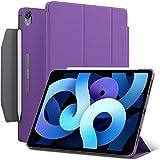 iPad Air 4 10.9-inch case, ROARTZ Purple Slim Fit Smart Rubber Coated Folio Case Hard Cover Wake/Sleep Pencil Holder for Apple iPad Air 4th Generation 2020 Model A2316 A2324 A2325 A2072