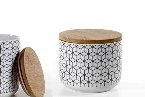 GICOS IMPORT EXPORT SRL Tarro galleta contenedor de porcelana 10 x 8 cm decorado con tapón de madera ELA-780806