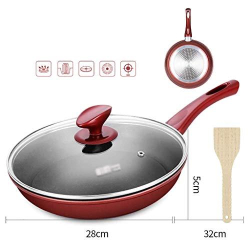 ZXL Koekenpan Platte bodem Antislippan Met deksel, Rode wijn, 24/26/28cm Koekenpannen (Maat: 28cm)