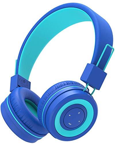 Cuffie Bluetooth per Bambini, iClever Cuffie per Bambini con Microfono, Fascia Regolabile per il Controllo del Volume, Pieghevole, Cuffie per bambini sull orecchio
