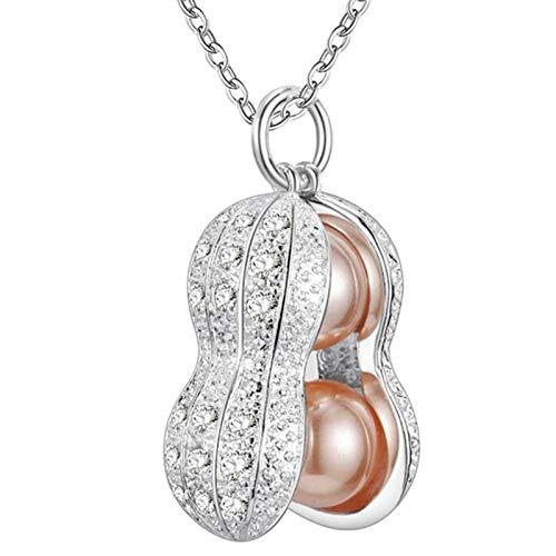 KnBoB Weiß Vergoldet Halskette Erdnuss Perle mit Weiß Zirkonia Damen Kette Hochzeit